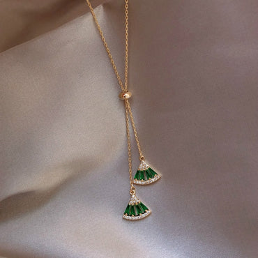 Green white Crystal Geometric Necklace