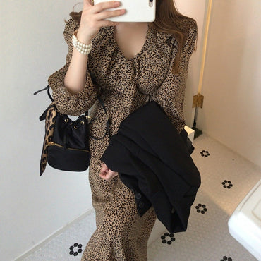 Elegant Ruffles Patchwork Leopard Print Dress