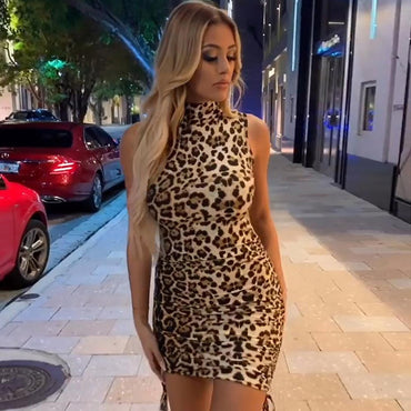 High Collar Sleeveless Cheetah Print Mini Dresses