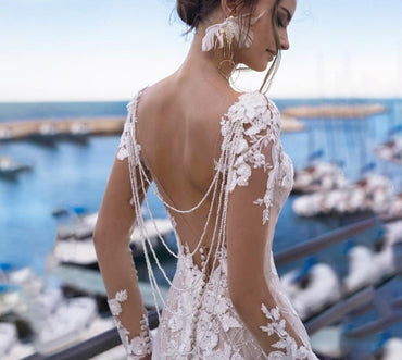 Long Sleeve Lace Mermaid Appliques Beaded Backless Dress