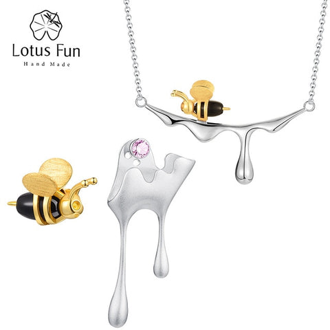 Bee and Dripping Honey Pendant Necklace