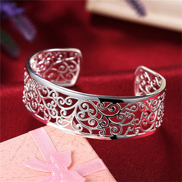 Wide Flower Bangle & Bracelets