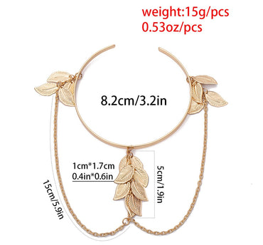 Fashion Open Bangle Charm Leaves Cuff Bracelets & Bangles