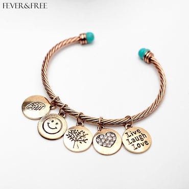 Leaf Smile Tree Love Cuff Bangles & Bracelets