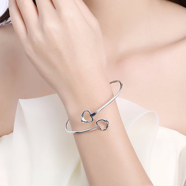 Double Heart Bangle cuff Bracelet