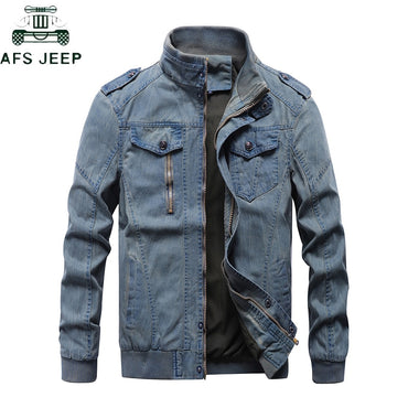 Casual Vintage Solid Stand Collar Denim Bomber Jacket