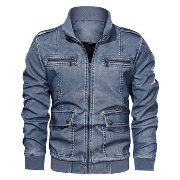 Big Size Solid Causal Washed Leather Jacket
