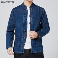 Chinese Style Mandarin Collar Denim Jacket