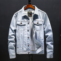 Letter Print Pocket Stand Collar Denim Jacket