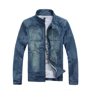 Slim Fit Stand Collar Fashion Jean Jacket