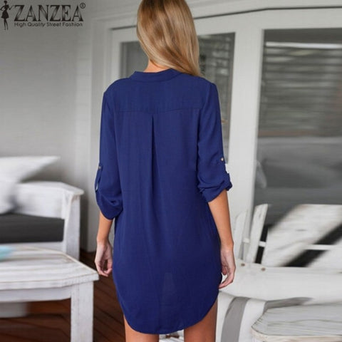 Sexy Chiffon Shirt Dress