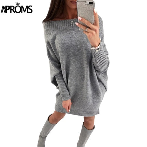 Crochet Sweater Batwing Knitted Off Shoulder Dresses