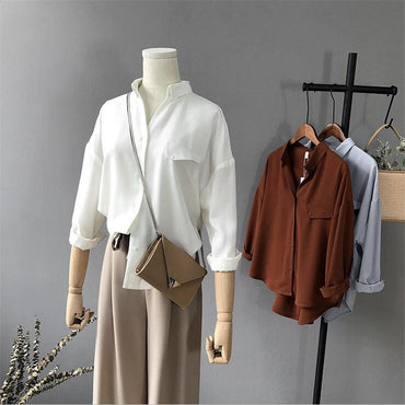 High quality Casual Chiffon white blouse