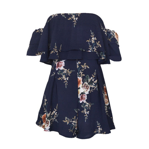 Off Shoulder Boho Style Floral Print Playsuit