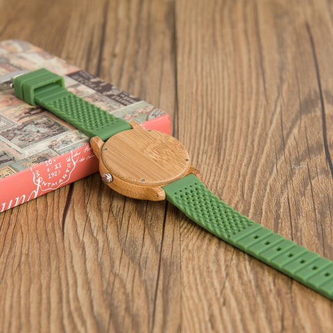 Bamboo Wood Soft Silicon Watches