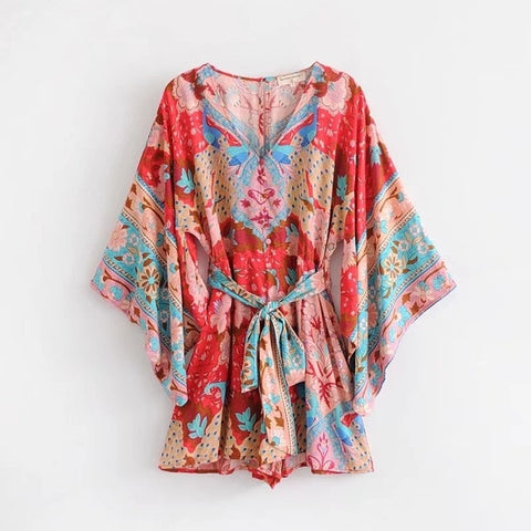 Peacock Printed Beach Playsuits
