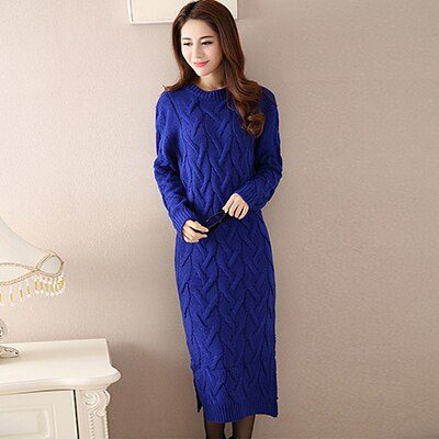 knitted Sweater O-neck Dress