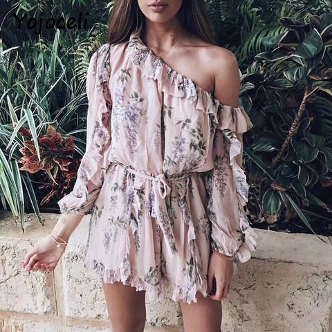 off shoulder ruffle print jumpsuit rompers