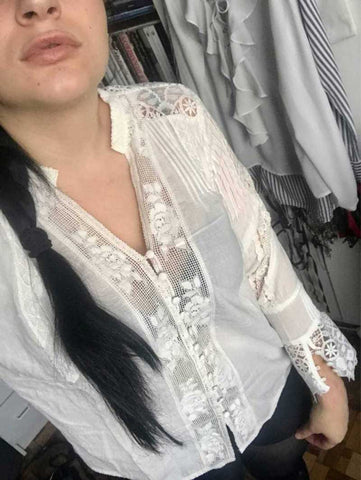 white cotton lace floral embroidery shirt
