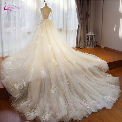 Chic Organza  Embroidery Appliques O-Neck Dress