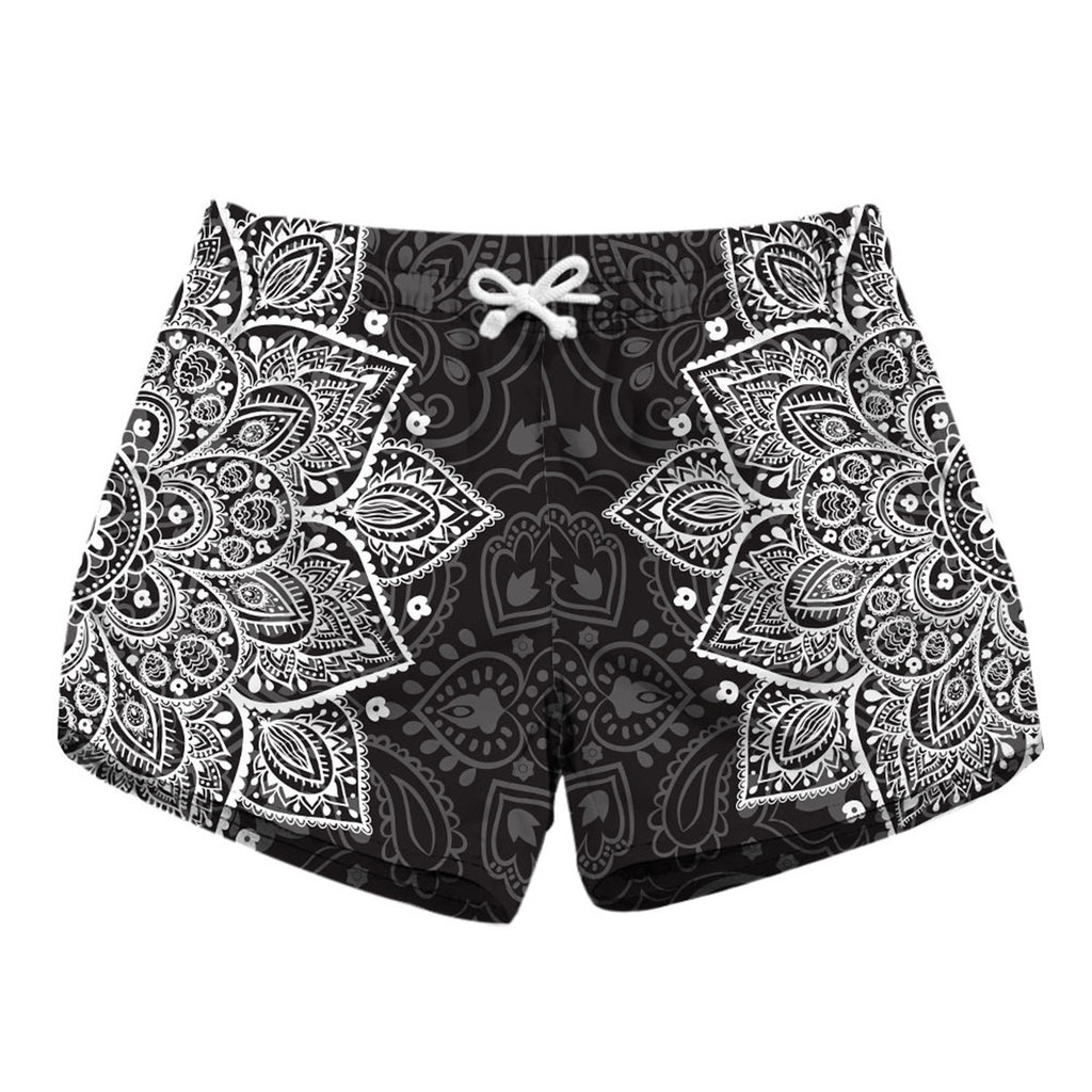 Black White Mehndi Beauty Flower Short