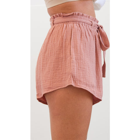 Vintage Belted High Waist Shorts