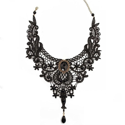 Lace& Beads Choker Victorian Style Necklace