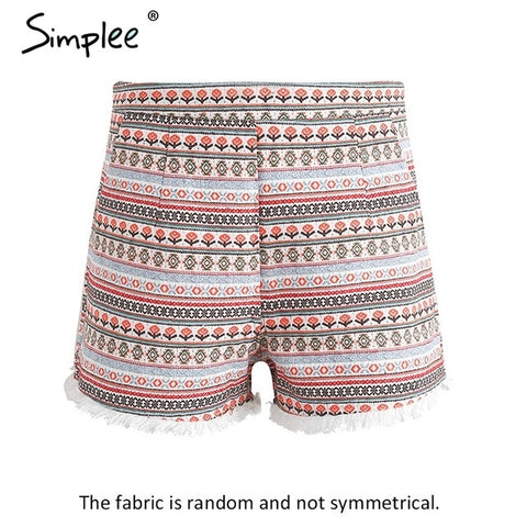 Fringe ethnic flower shorts