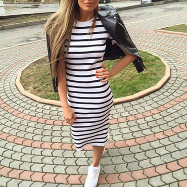 Short Sleeve Round Neck Slim Fit Bodycon Dress