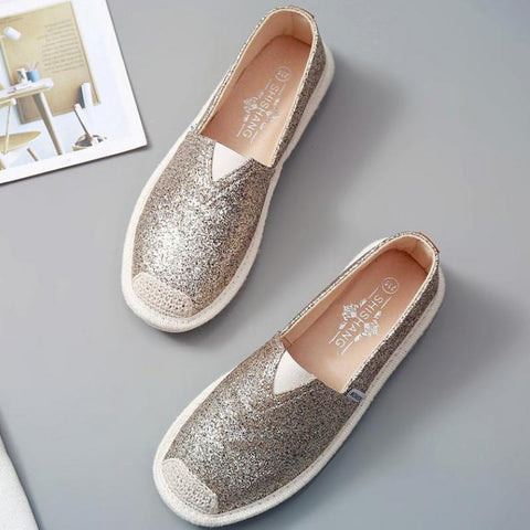 Paillette Lightweight Bleathable Flat Shoes