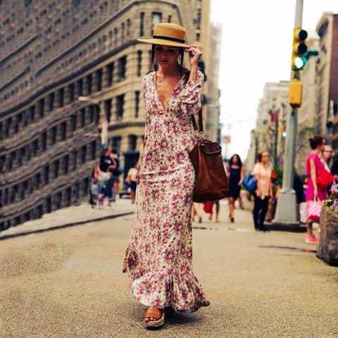 Retro Vintage Floral Printed Long Dresses