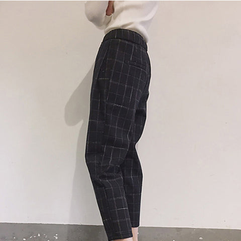 Pockets Plaid Loose Casual Pant