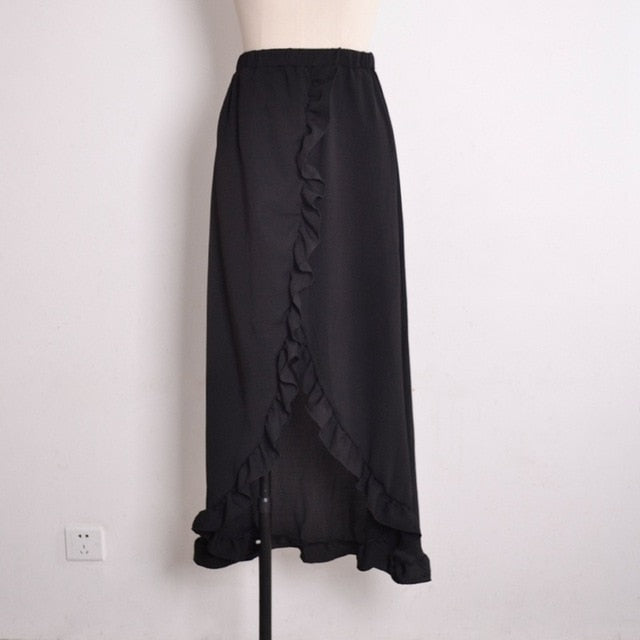 Ruffle Side Split Beach Maxi Skirt