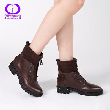 Front Zipper Black Ankle Boots