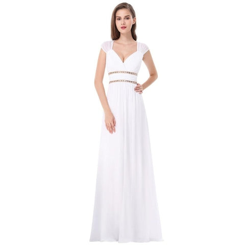 A Line V-neck Chiffon Wedding Dress