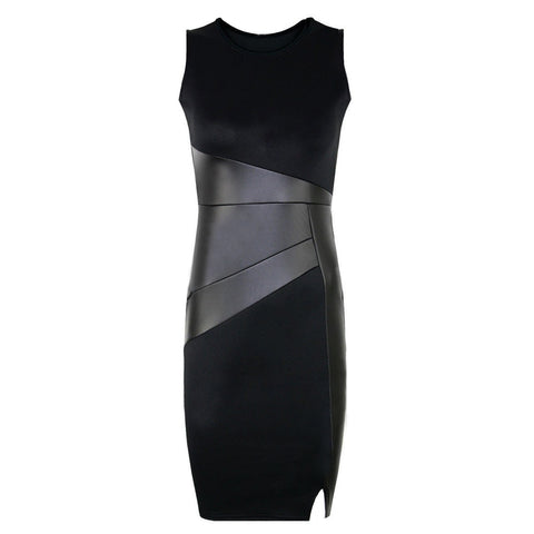 Faux Leather Splice O-neck Dress