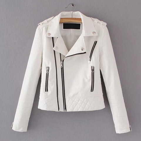 Motorcycle Long Sleeve Zipper Soft Faux Leather Jackets