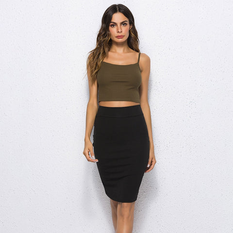Black Solid  Bodycon Straight Skirt