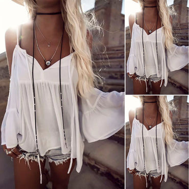 Sexy Off Shoulder Casual Loose White Blouse