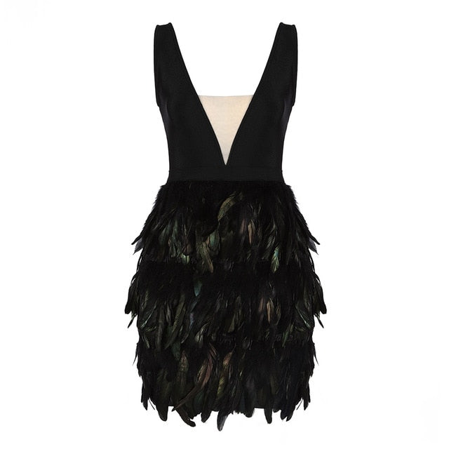 Black Feather Sleeveless Bandage Dress