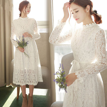 Bow Full Sleeve Lace Long Dresses