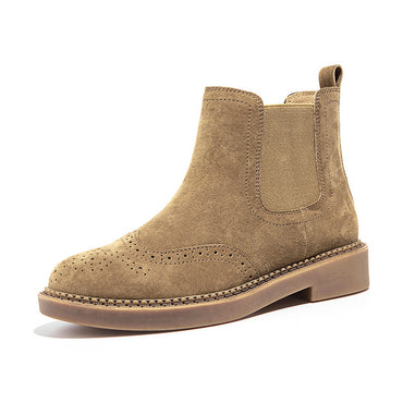 Elastic Ankle Pig Suede Brogue Boot