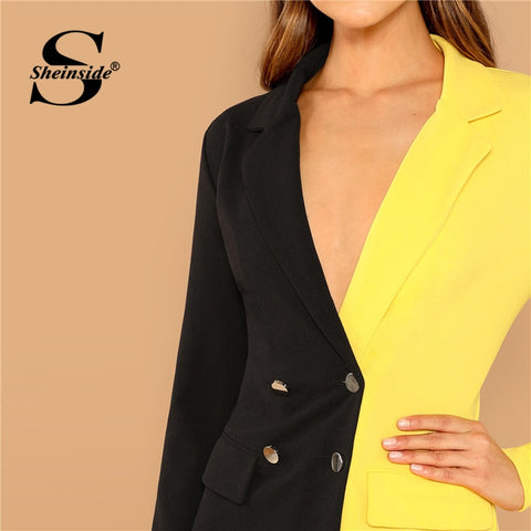 Two Tone Double Breasted Blazer Dress