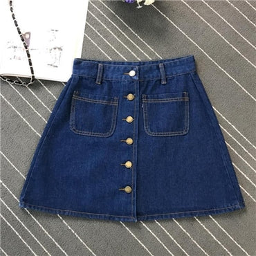 A-line Button High Waist Pocket Skirt