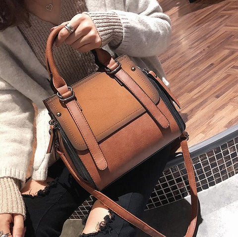 Matte PU Leather Portable Shoulder handbag