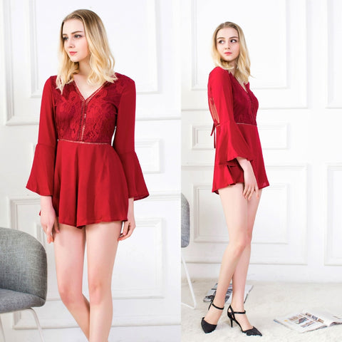 sexy backless long flare sleeve rompers