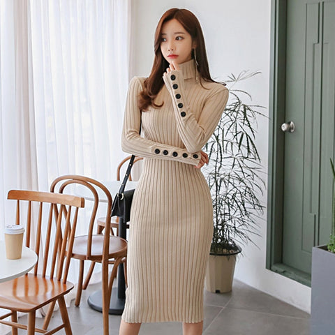 Spring Buttons Turtleneck Knitted Dress