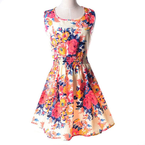Apricot Sleeveless O-Neck Florals Print Dress
