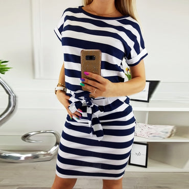 Short Sleeve O-neck Black Blue Striped Sexy Dress