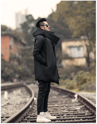 new slim long thick cotton padded warm hooded coat
